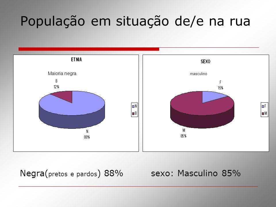 População em situação de/e na rua Negra( pretos e pardos ) 88% sexo: Masculino 85% Maioria negra masculino