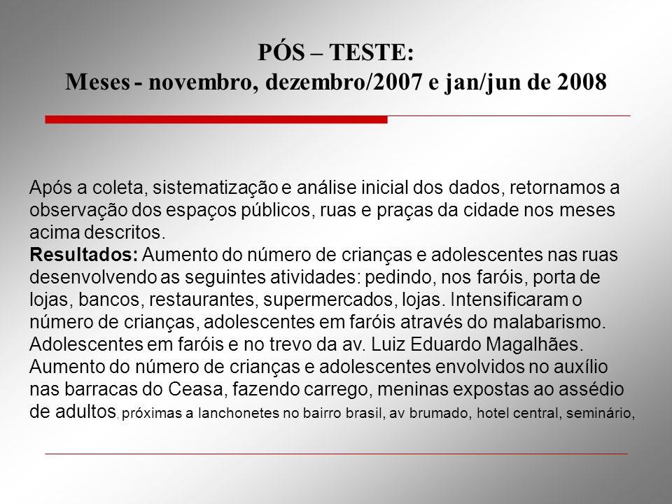 PÓS – TESTE: Meses - novembro, dezembro/2007 e jan/jun de 2008 Após a coleta, sistematização e análise inicial dos dados, retornamos a observação dos