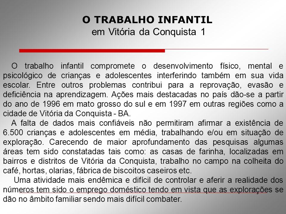 O TRABALHO INFANTIL em Vitória da Conquista 1 O trabalho infantil compromete o desenvolvimento físico, mental e psicológico de crianças e adolescentes