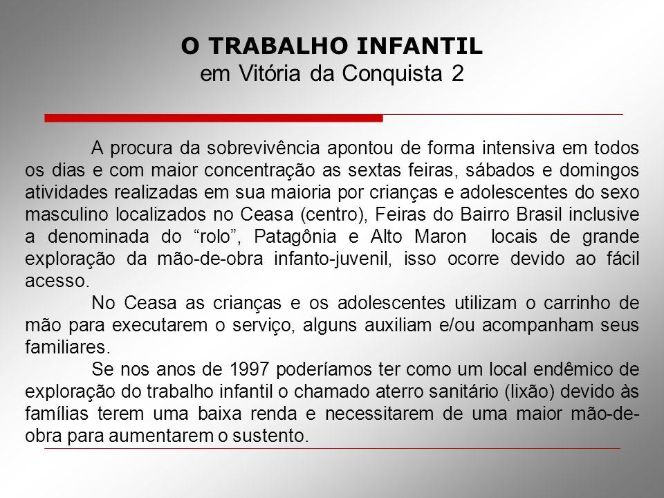 O TRABALHO INFANTIL em Vitória da Conquista 2 A procura da sobrevivência apontou de forma intensiva em todos os dias e com maior concentração as sexta