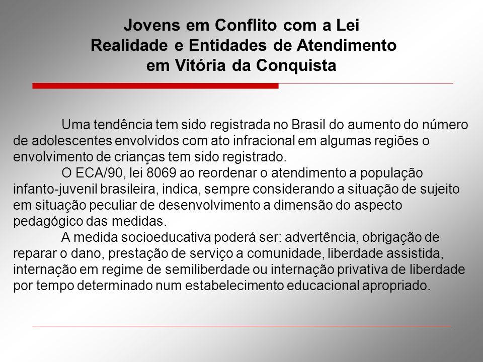 Jovens em Conflito com a Lei Realidade e Entidades de Atendimento em Vitória da Conquista Uma tendência tem sido registrada no Brasil do aumento do nú