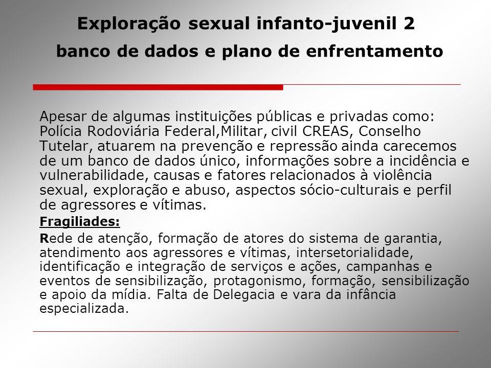 Exploração sexual infanto-juvenil 2 banco de dados e plano de enfrentamento Apesar de algumas instituições públicas e privadas como: Polícia Rodoviári