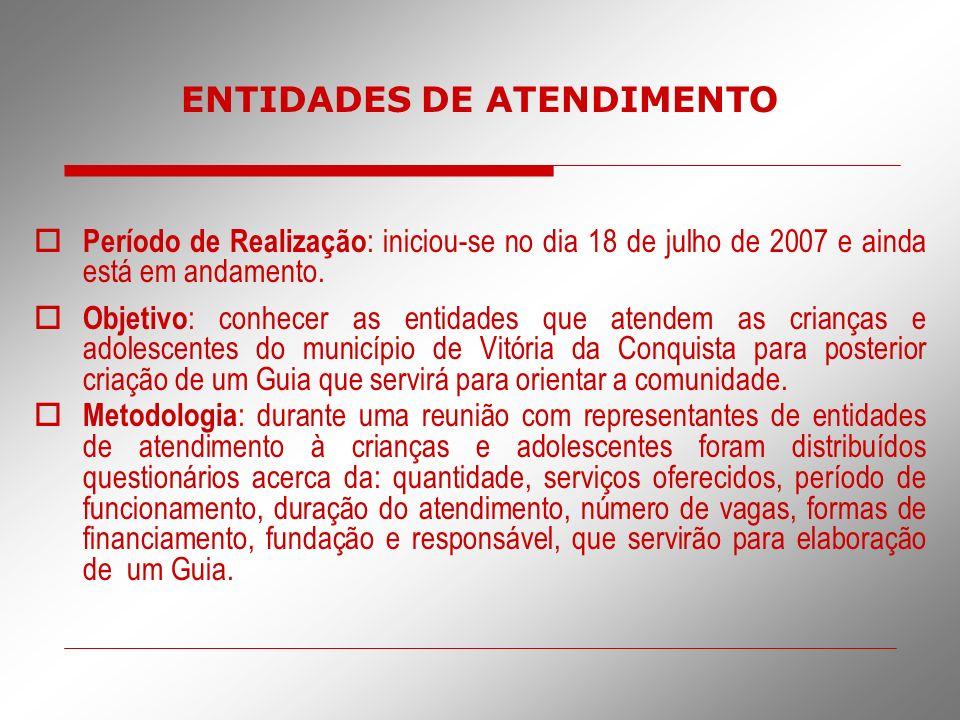 Período de Realização : iniciou-se no dia 18 de julho de 2007 e ainda está em andamento. Objetivo : conhecer as entidades que atendem as crianças e ad