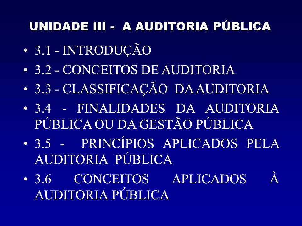 UNIDADE III - A AUDITORIA PÚBLICA 3.1 - INTRODUÇÃO 3.2 - CONCEITOS DE AUDITORIA 3.3 - CLASSIFICAÇÃO DA AUDITORIA 3.4 - FINALIDADES DA AUDITORIA PÚBLICA OU DA GESTÃO PÚBLICA 3.5 - PRINCÍPIOS APLICADOS PELA AUDITORIA PÚBLICA 3.6 CONCEITOS APLICADOS À AUDITORIA PÚBLICA