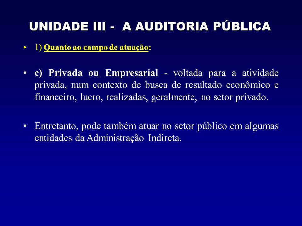 UNIDADE III - A AUDITORIA PÚBLICA 1) Quanto ao campo de atuação: c) Privada ou Empresarial - voltada para a atividade privada, num contexto de busca de resultado econômico e financeiro, lucro, realizadas, geralmente, no setor privado.