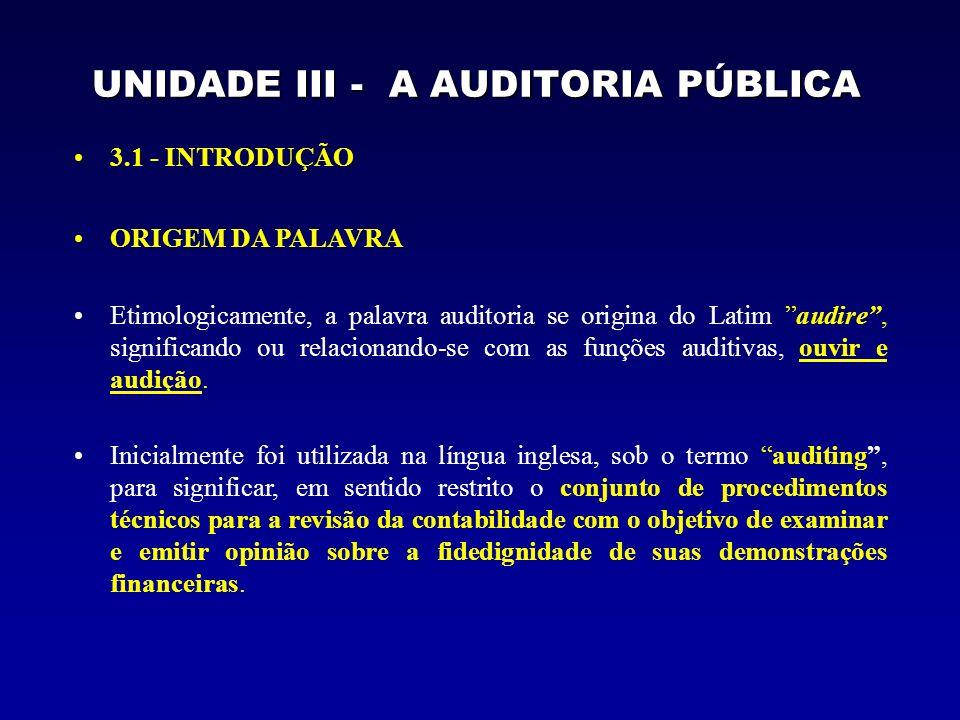 UNIDADE III - A AUDITORIA PÚBLICA 3.1 - INTRODUÇÃO ORIGEM DA PALAVRA Etimologicamente, a palavra auditoria se origina do Latim audire, significando ou relacionando-se com as funções auditivas, ouvir e audição.