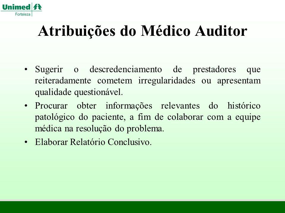 Atribuições do Médico Auditor Sugerir o descredenciamento de prestadores que reiteradamente cometem irregularidades ou apresentam qualidade questionáv