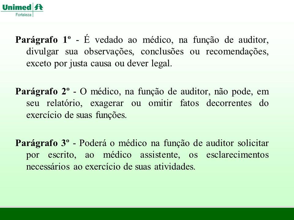 Parágrafo 1º - É vedado ao médico, na função de auditor, divulgar sua observações, conclusões ou recomendações, exceto por justa causa ou dever legal.