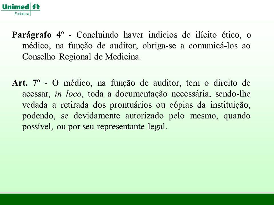 Parágrafo 4º - Concluindo haver indícios de ilícito ético, o médico, na função de auditor, obriga-se a comunicá-los ao Conselho Regional de Medicina.