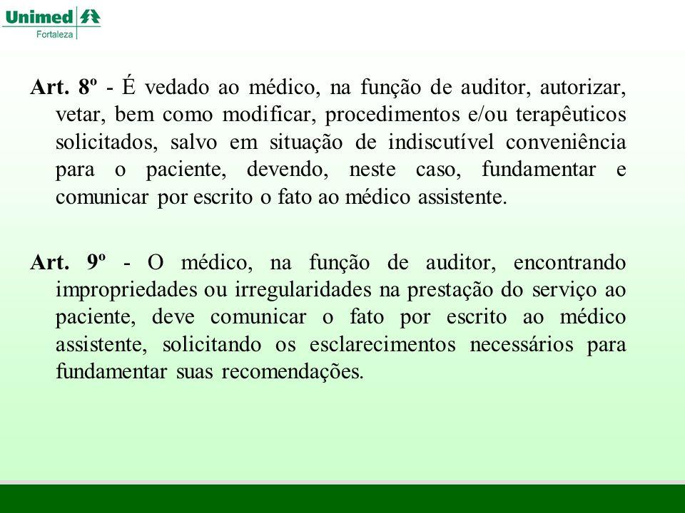 Art. 8º - É vedado ao médico, na função de auditor, autorizar, vetar, bem como modificar, procedimentos e/ou terapêuticos solicitados, salvo em situaç