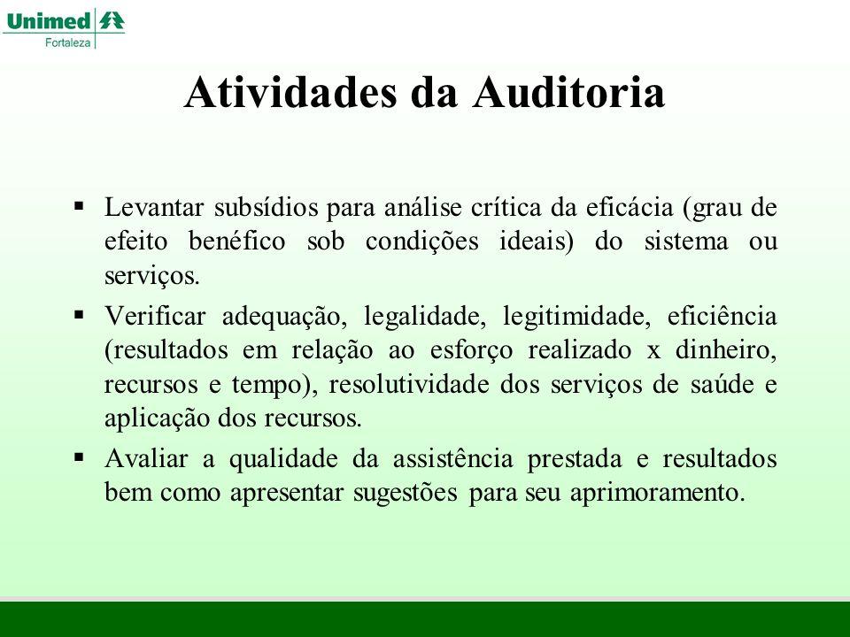 Atividades da Auditoria Levantar subsídios para análise crítica da eficácia (grau de efeito benéfico sob condições ideais) do sistema ou serviços. Ver