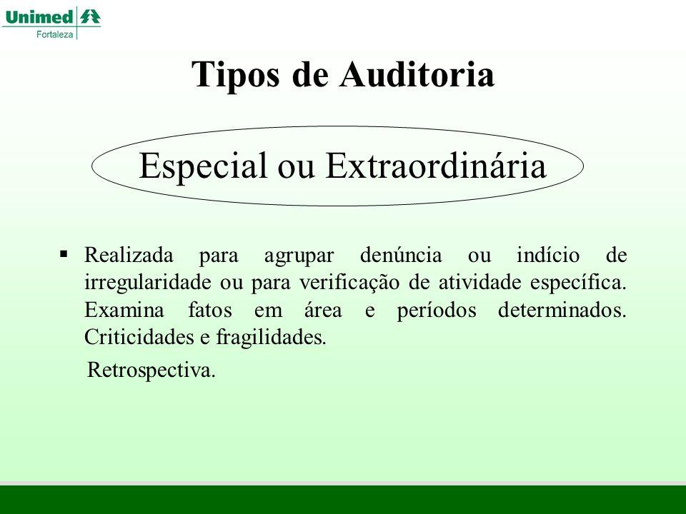 Tipos de Auditoria Especial ou Extraordinária Realizada para agrupar denúncia ou indício de irregularidade ou para verificação de atividade específica