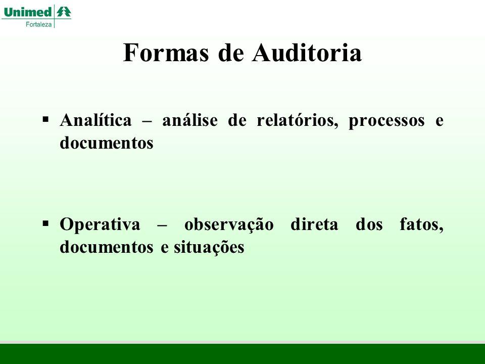 Formas de Auditoria Analítica – análise de relatórios, processos e documentos Operativa – observação direta dos fatos, documentos e situações