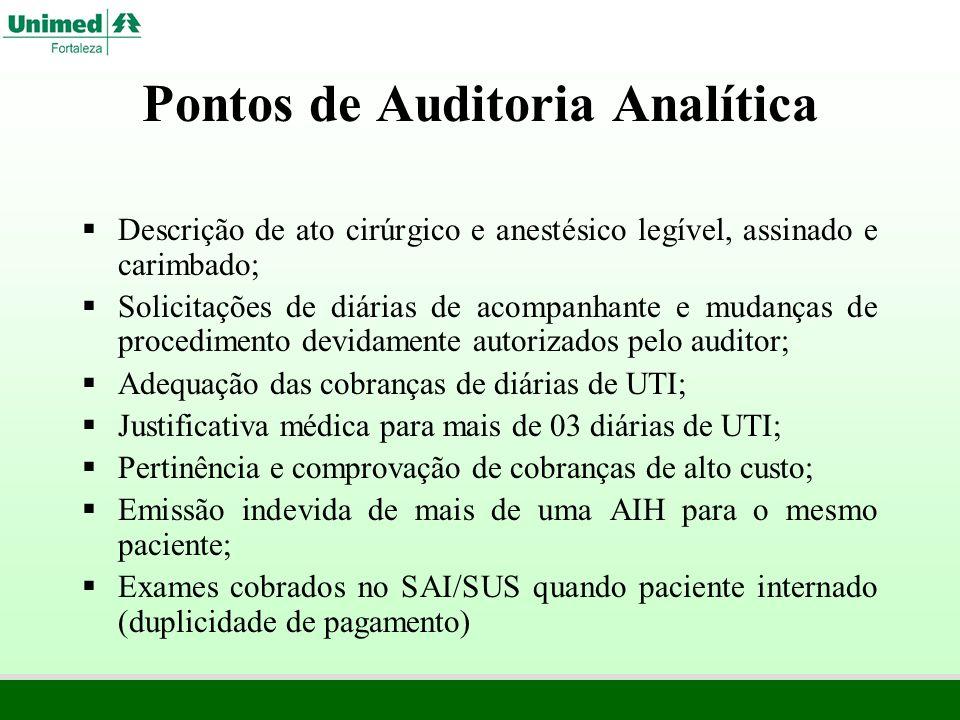 Pontos de Auditoria Analítica Descrição de ato cirúrgico e anestésico legível, assinado e carimbado; Solicitações de diárias de acompanhante e mudança