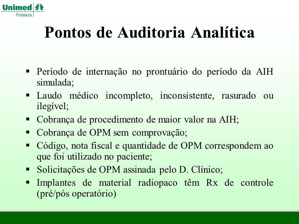 Pontos de Auditoria Analítica Período de internação no prontuário do período da AIH simulada; Laudo médico incompleto, inconsistente, rasurado ou ileg