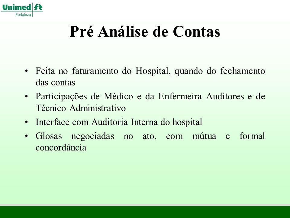 Pré Análise de Contas Feita no faturamento do Hospital, quando do fechamento das contas Participações de Médico e da Enfermeira Auditores e de Técnico
