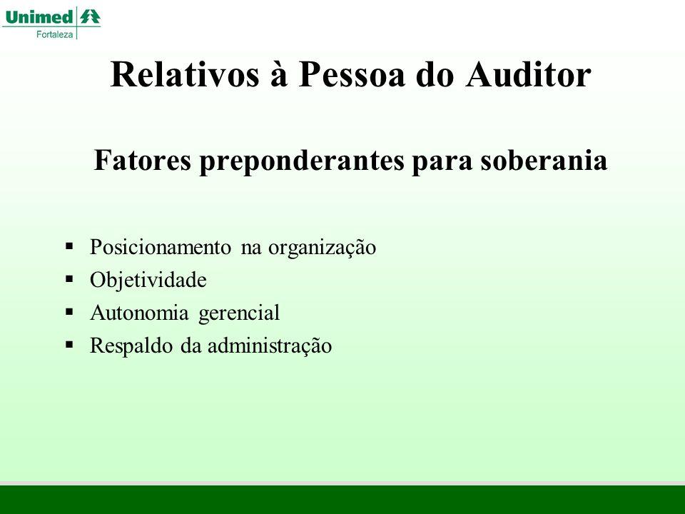 Relativos à Pessoa do Auditor Fatores preponderantes para soberania Posicionamento na organização Objetividade Autonomia gerencial Respaldo da adminis