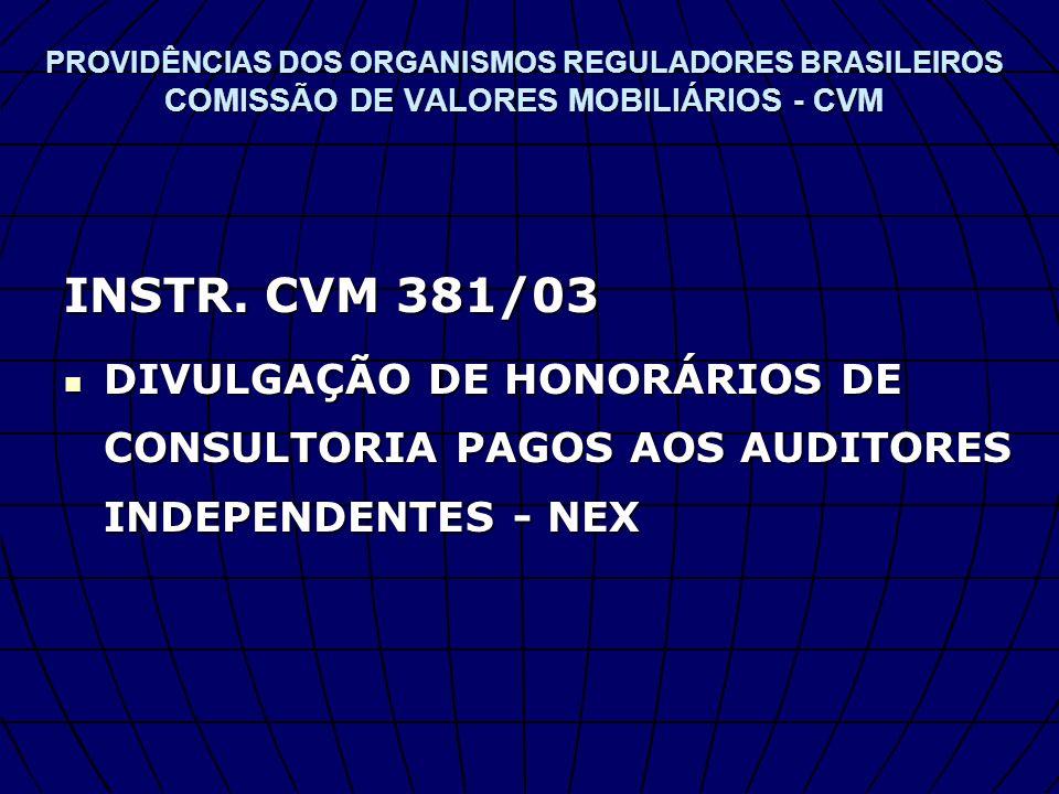 PROVIDÊNCIAS DOS ORGANISMOS REGULADORES BRASILEIROS COMISSÃO DE VALORES MOBILIÁRIOS - CVM INSTR. CVM 381/03 DIVULGAÇÃO DE HONORÁRIOS DE CONSULTORIA PA