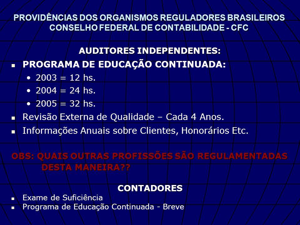 PROVIDÊNCIAS DOS ORGANISMOS REGULADORES BRASILEIROS CONSELHO FEDERAL DE CONTABILIDADE - CFC AUDITORES INDEPENDENTES: PROGRAMA DE EDUCAÇÃO CONTINUADA: