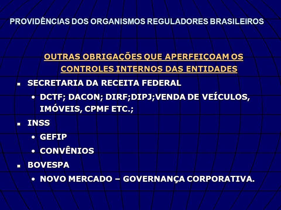 PROVIDÊNCIAS DOS ORGANISMOS REGULADORES BRASILEIROS OUTRAS OBRIGAÇÕES QUE APERFEIÇOAM OS CONTROLES INTERNOS DAS ENTIDADES SECRETARIA DA RECEITA FEDERA