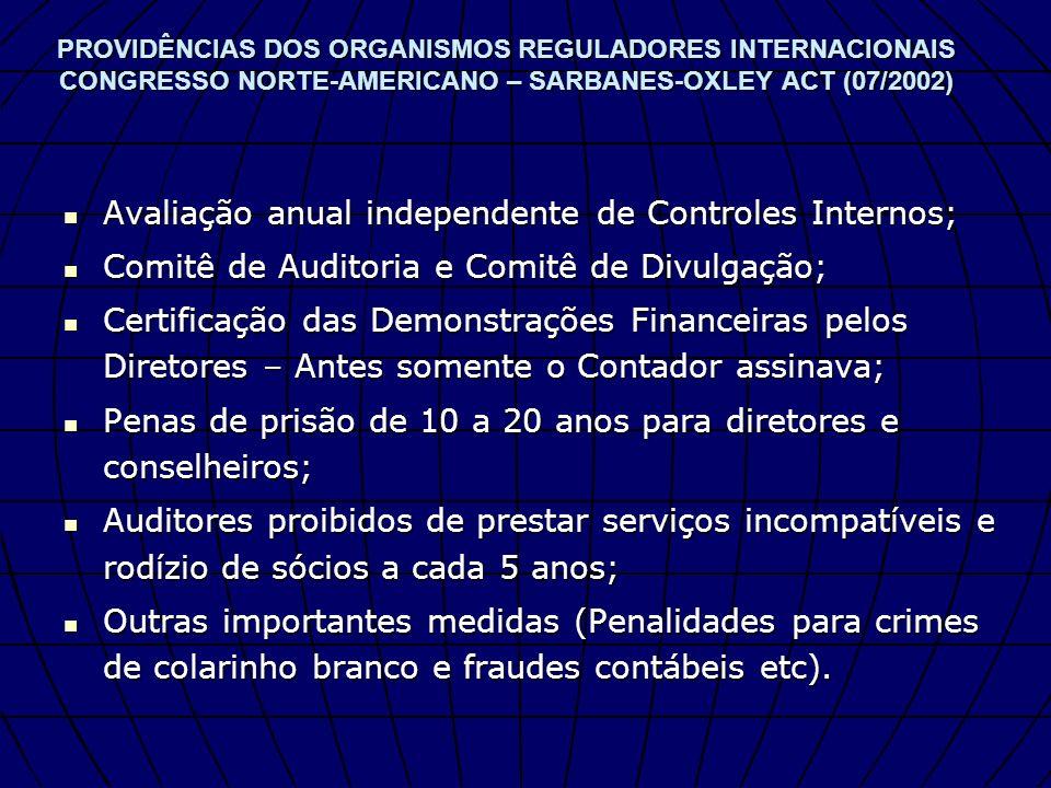 PROVIDÊNCIAS DOS ORGANISMOS REGULADORES INTERNACIONAIS CONGRESSO NORTE-AMERICANO – SARBANES-OXLEY ACT (07/2002) Avaliação anual independente de Contro