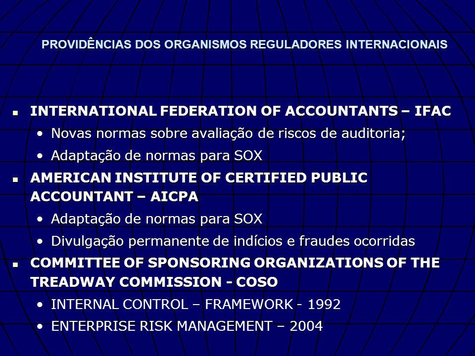 PROVIDÊNCIAS DOS ORGANISMOS REGULADORES INTERNACIONAIS INTERNATIONAL FEDERATION OF ACCOUNTANTS – IFAC INTERNATIONAL FEDERATION OF ACCOUNTANTS – IFAC N