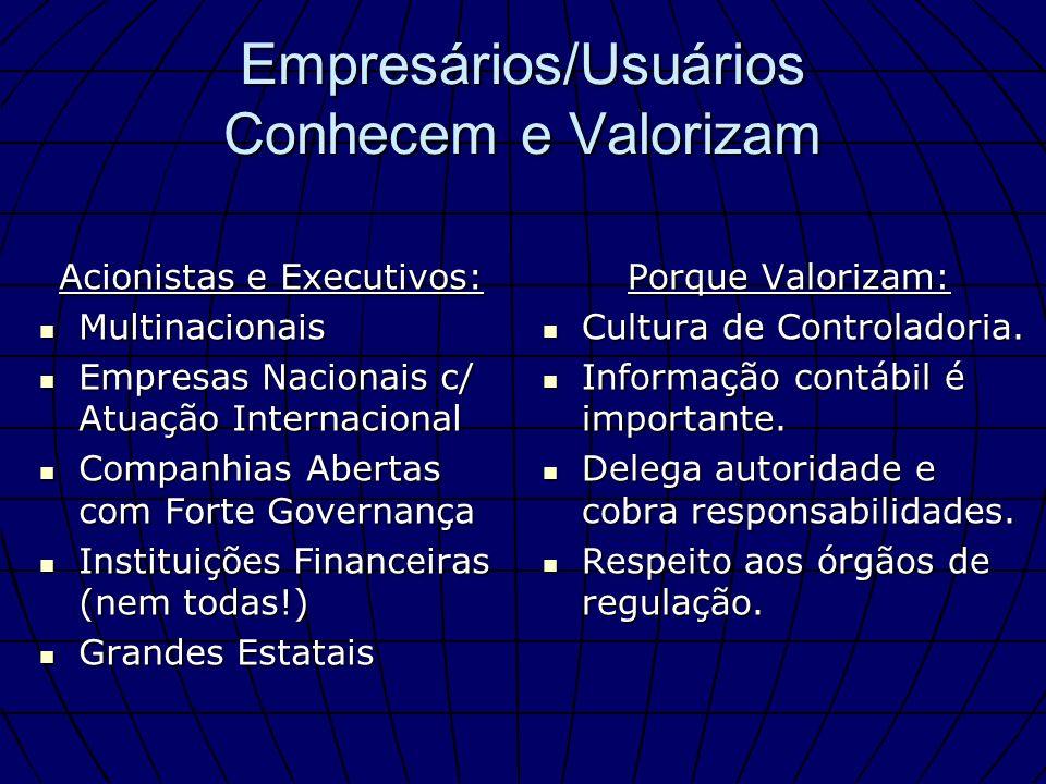 Empresários/Usuários Conhecem e Valorizam Acionistas e Executivos: Multinacionais Multinacionais Empresas Nacionais c/ Atuação Internacional Empresas