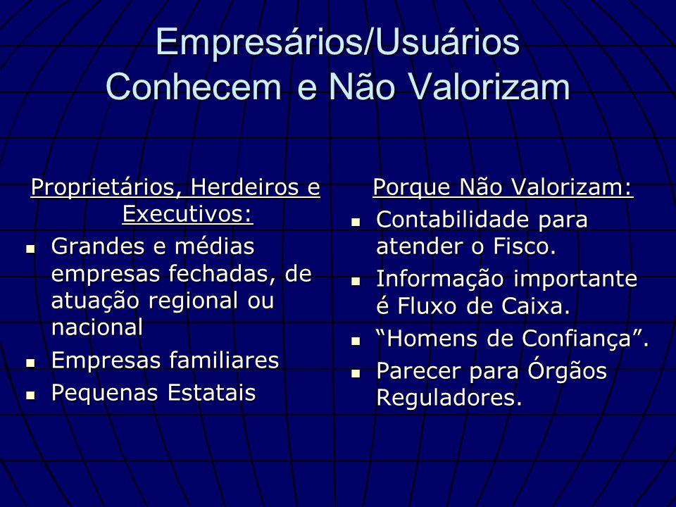 Empresários/Usuários Conhecem e Não Valorizam Proprietários, Herdeiros e Executivos: Grandes e médias empresas fechadas, de atuação regional ou nacion