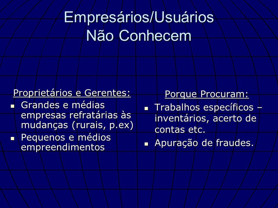 Empresários/Usuários Não Conhecem Proprietários e Gerentes: Grandes e médias empresas refratárias às mudanças (rurais, p.ex) Grandes e médias empresas