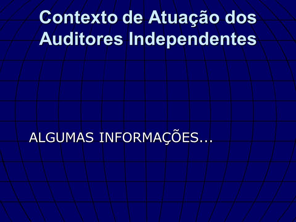 ALGUMAS INFORMAÇÕES... Contexto de Atuação dos Auditores Independentes