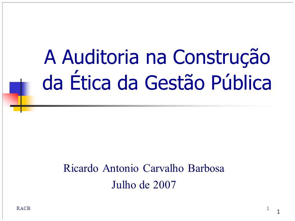 1RACB 1 A Auditoria na Construção da Ética da Gestão Pública Ricardo Antonio Carvalho Barbosa Julho de 2007