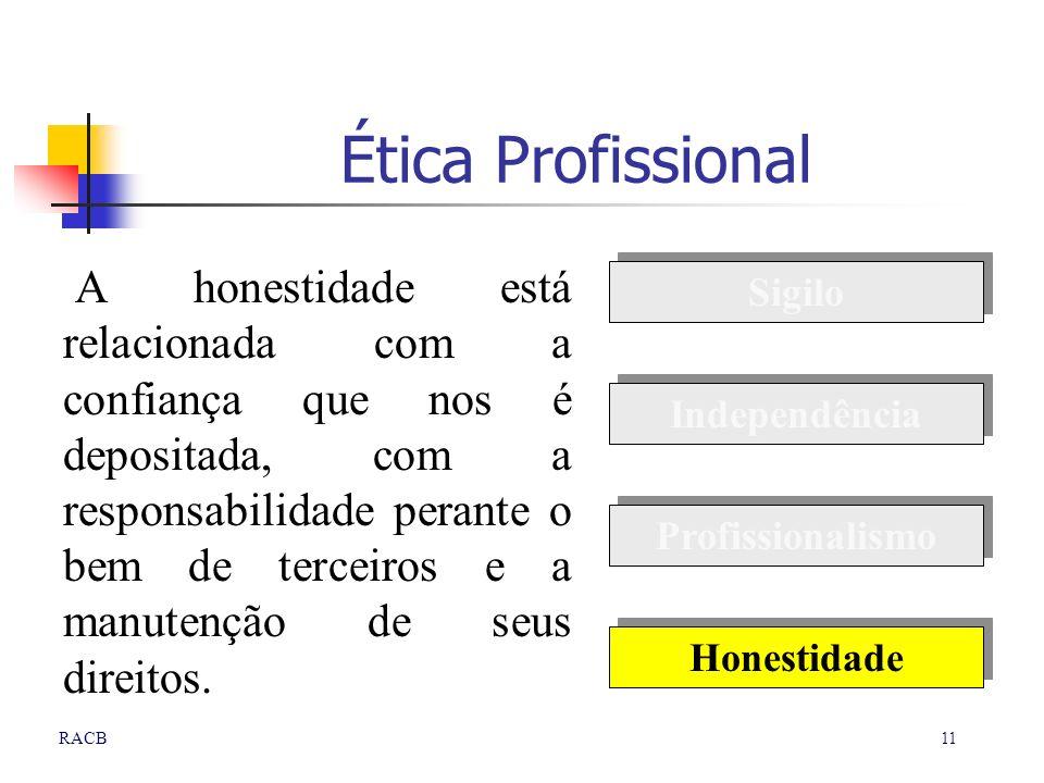 11RACB Ética Profissional A honestidade está relacionada com a confiança que nos é depositada, com a responsabilidade perante o bem de terceiros e a m
