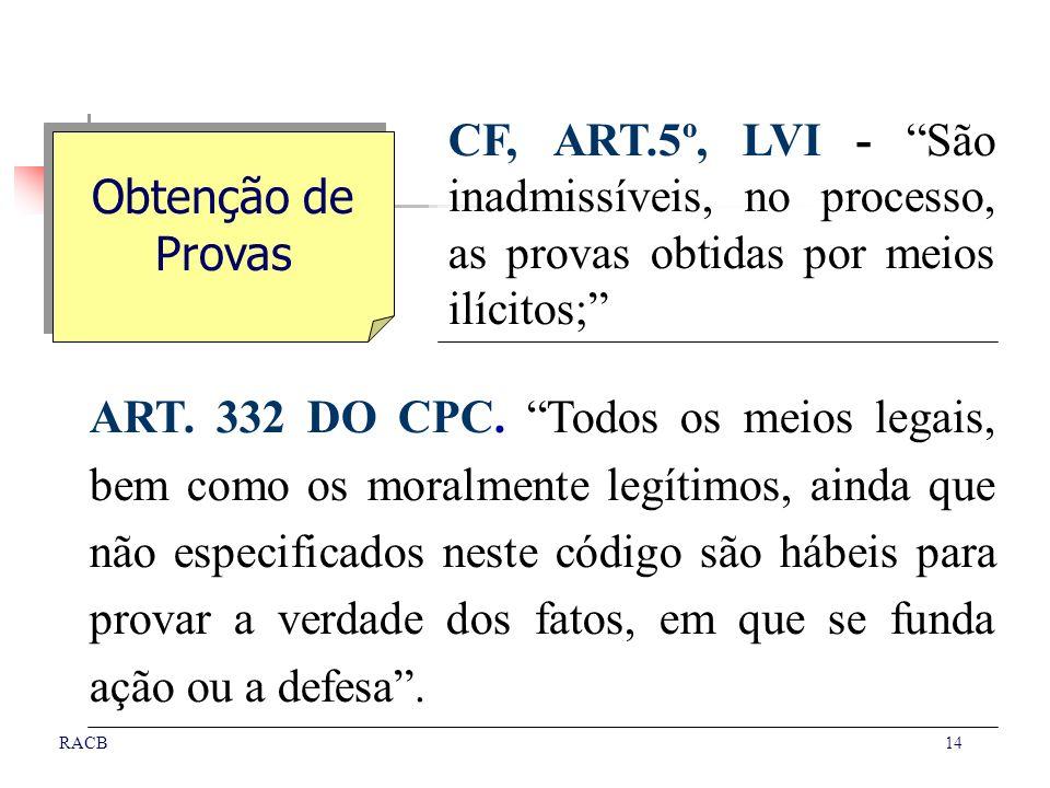 14RACB CF, ART.5º, LVI - São inadmissíveis, no processo, as provas obtidas por meios ilícitos; ART. 332 DO CPC. Todos os meios legais, bem como os mor
