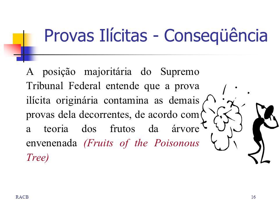 16RACB Provas Ilícitas - Conseqüência A posição majoritária do Supremo Tribunal Federal entende que a prova ilícita originária contamina as demais pro