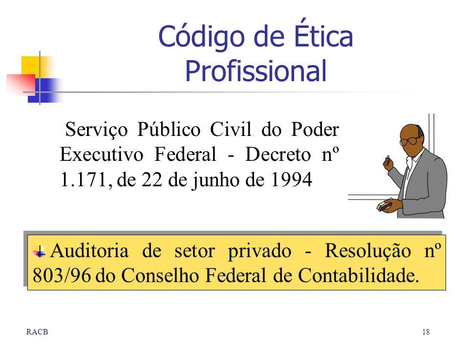18RACB Serviço Público Civil do Poder Executivo Federal - Decreto nº 1.171, de 22 de junho de 1994 Auditoria de setor privado - Resolução nº 803/96 do