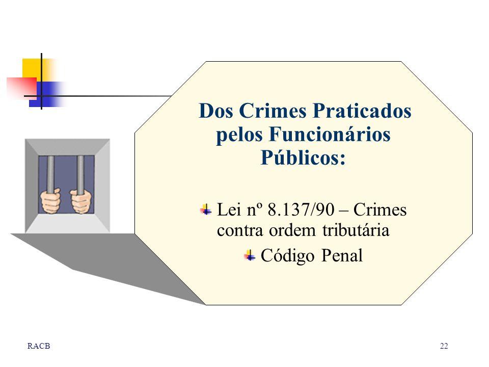 22RACB Dos Crimes Praticados pelos Funcionários Públicos: Lei nº 8.137/90 – Crimes contra ordem tributária Código Penal