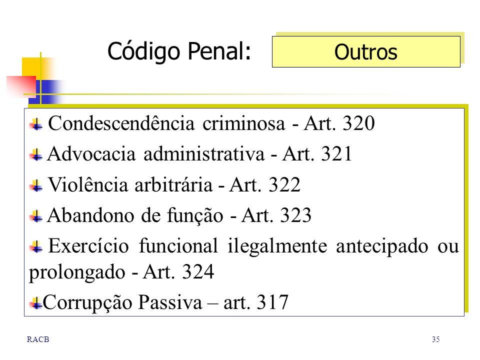 35RACB Condescendência criminosa - Art. 320 Advocacia administrativa - Art. 321 Violência arbitrária - Art. 322 Abandono de função - Art. 323 Exercíci