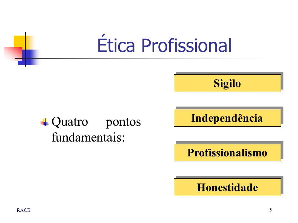 5RACB Ética Profissional Quatro pontos fundamentais: Profissionalismo Sigilo Independência Honestidade