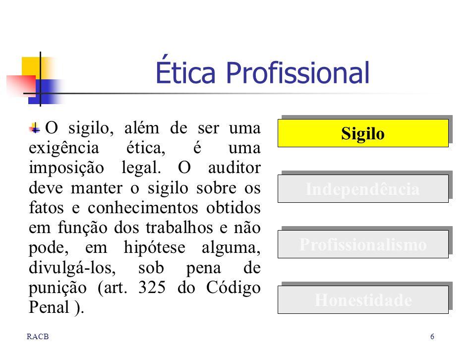 6RACB Ética Profissional O sigilo, além de ser uma exigência ética, é uma imposição legal. O auditor deve manter o sigilo sobre os fatos e conheciment
