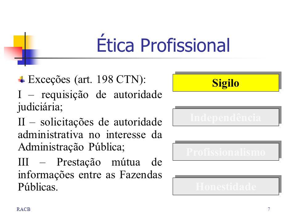 7RACB Ética Profissional Exceções (art. 198 CTN): I – requisição de autoridade judiciária; II – solicitações de autoridade administrativa no interesse