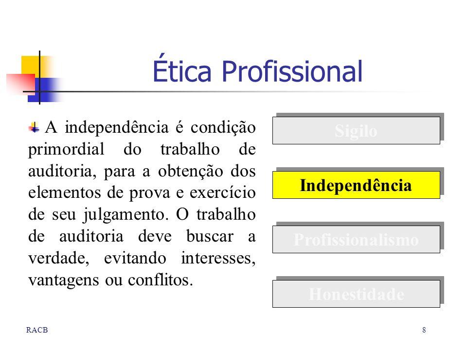 8RACB Ética Profissional A independência é condição primordial do trabalho de auditoria, para a obtenção dos elementos de prova e exercício de seu jul