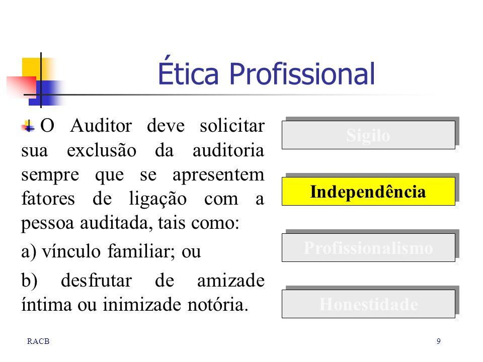 9RACB Ética Profissional O Auditor deve solicitar sua exclusão da auditoria sempre que se apresentem fatores de ligação com a pessoa auditada, tais co