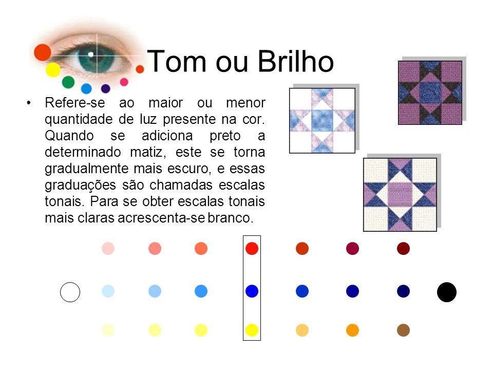 Tom ou Brilho Refere-se ao maior ou menor quantidade de luz presente na cor. Quando se adiciona preto a determinado matiz, este se torna gradualmente