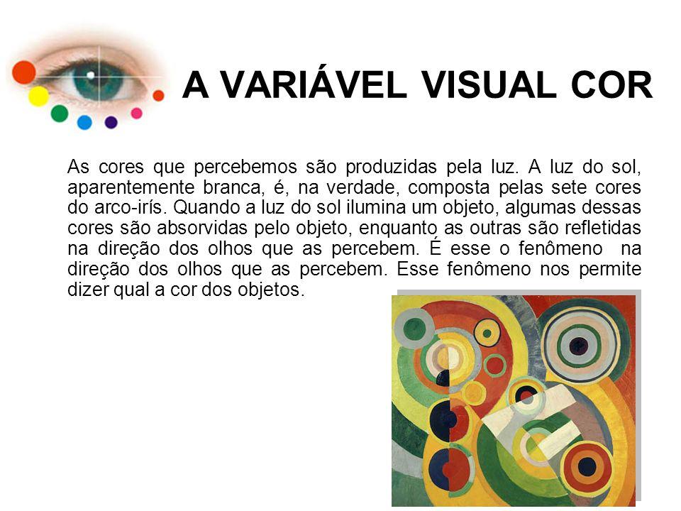 A VARIÁVEL VISUAL COR As cores que percebemos são produzidas pela luz. A luz do sol, aparentemente branca, é, na verdade, composta pelas sete cores do