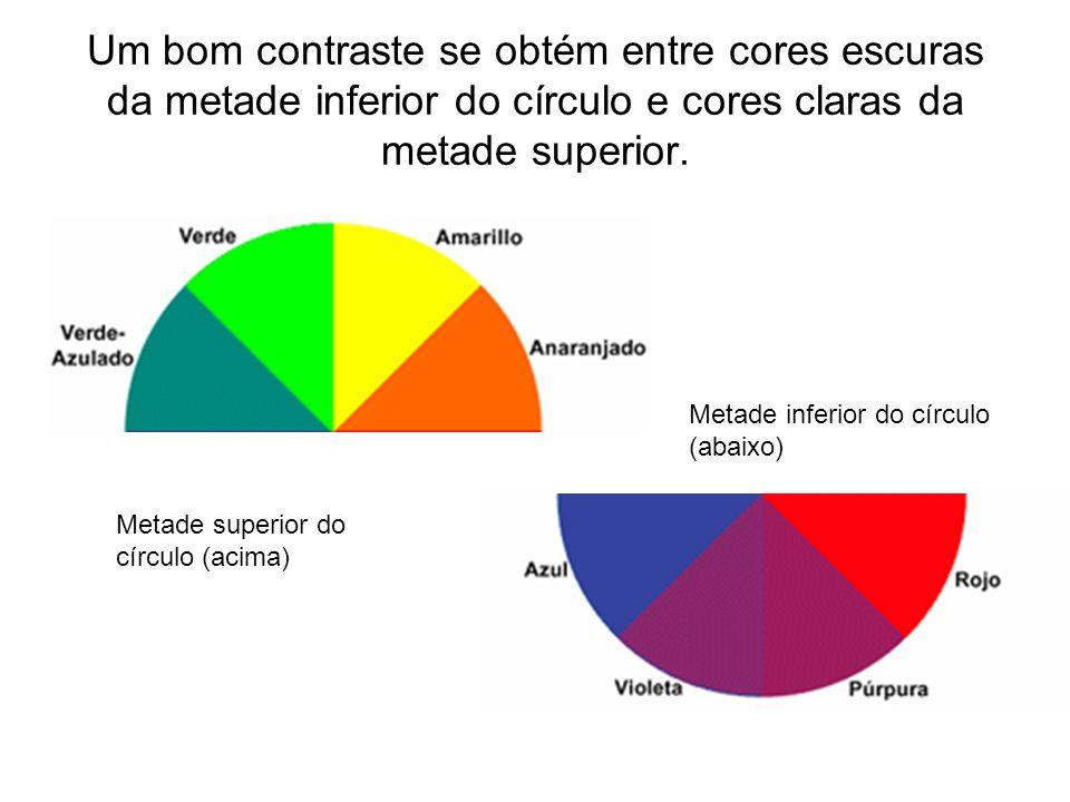 Um bom contraste se obtém entre cores escuras da metade inferior do círculo e cores claras da metade superior. Metade inferior do círculo (abaixo) Met