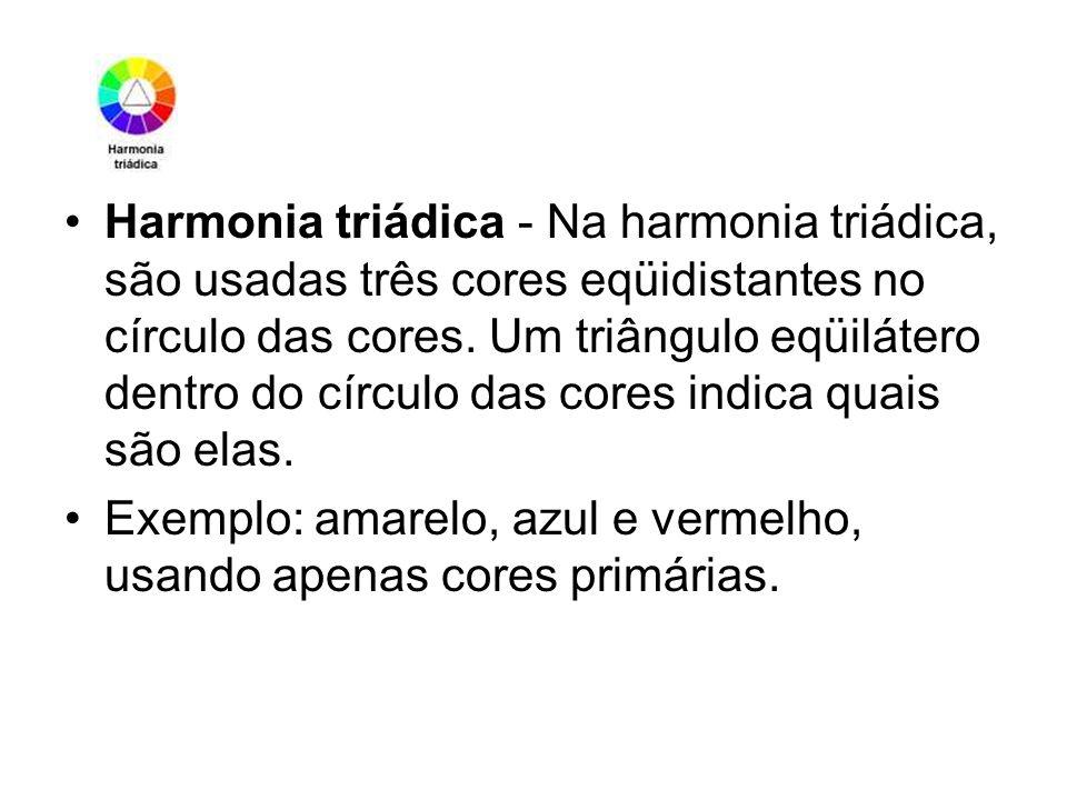 Harmonia triádica - Na harmonia triádica, são usadas três cores eqüidistantes no círculo das cores. Um triângulo eqüilátero dentro do círculo das core