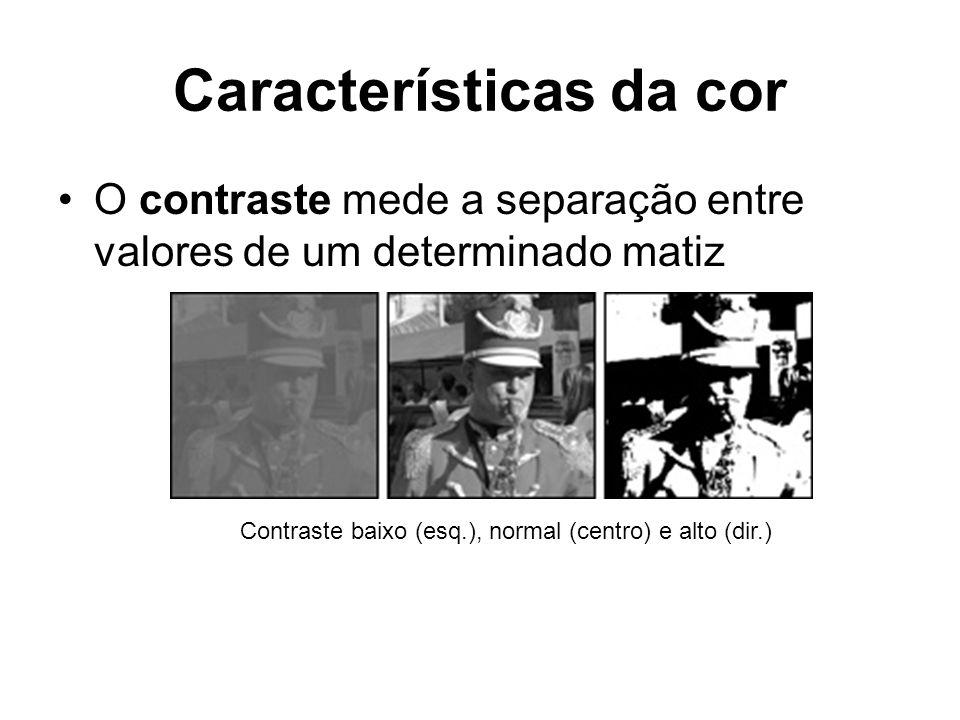Características da cor O contraste mede a separação entre valores de um determinado matiz Contraste baixo (esq.), normal (centro) e alto (dir.)