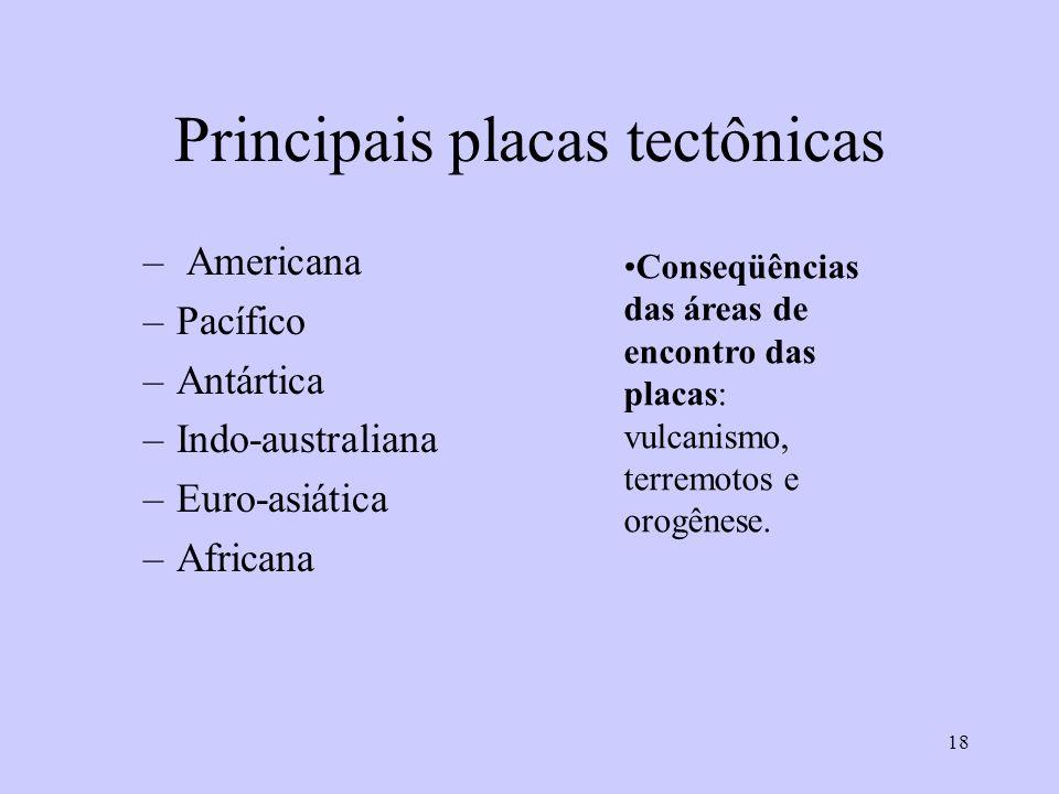 18 Principais placas tectônicas – Americana –Pacífico –Antártica –Indo-australiana –Euro-asiática –Africana Conseqüências das áreas de encontro das placas: vulcanismo, terremotos e orogênese.