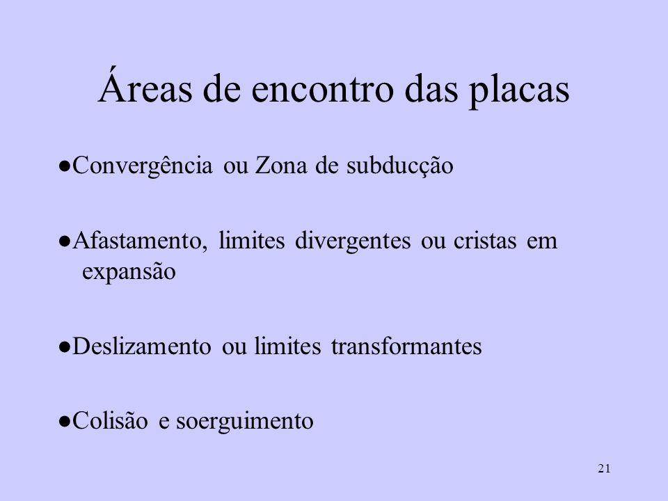 21 Áreas de encontro das placas Convergência ou Zona de subducção Afastamento, limites divergentes ou cristas em expansão Deslizamento ou limites transformantes Colisão e soerguimento