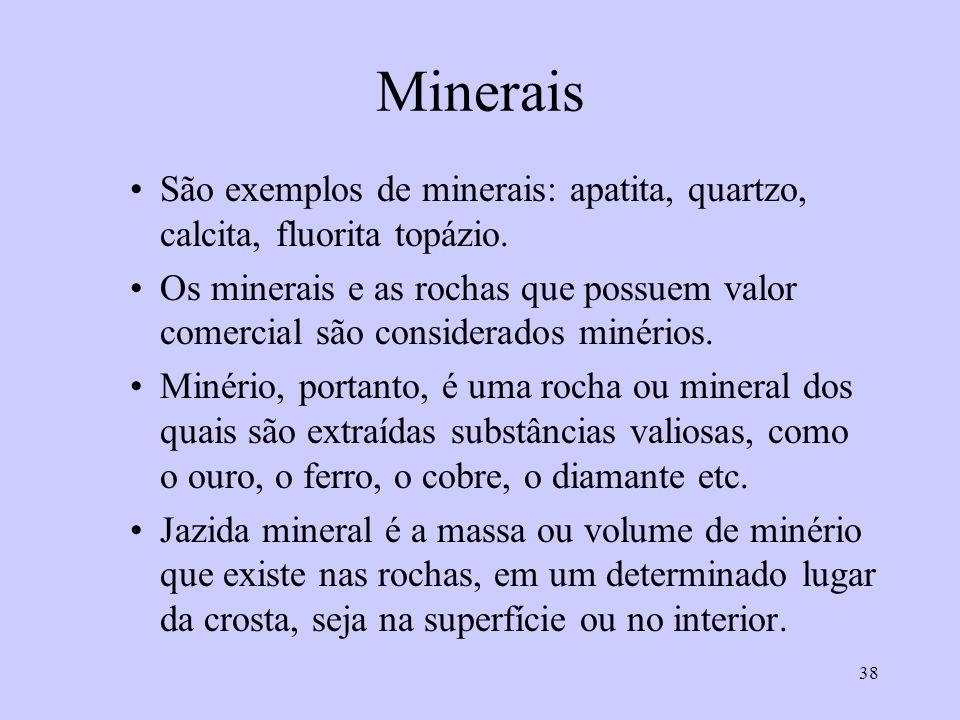 38 Minerais São exemplos de minerais: apatita, quartzo, calcita, fluorita topázio. Os minerais e as rochas que possuem valor comercial são considerado